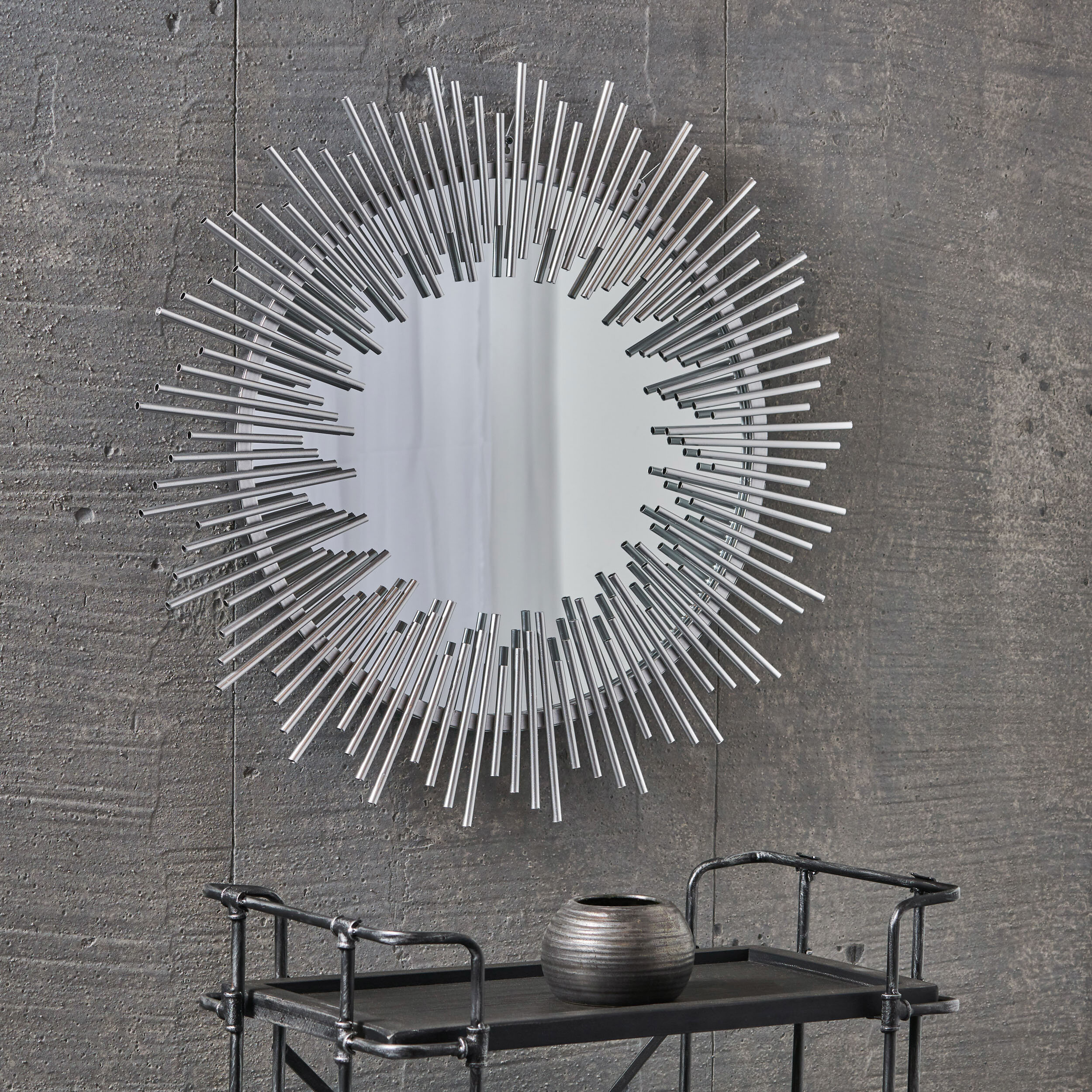 Petrolia Modern Industrial Metal Sunburst Accent Mirror For Arrigo Accent Mirrors (View 18 of 20)