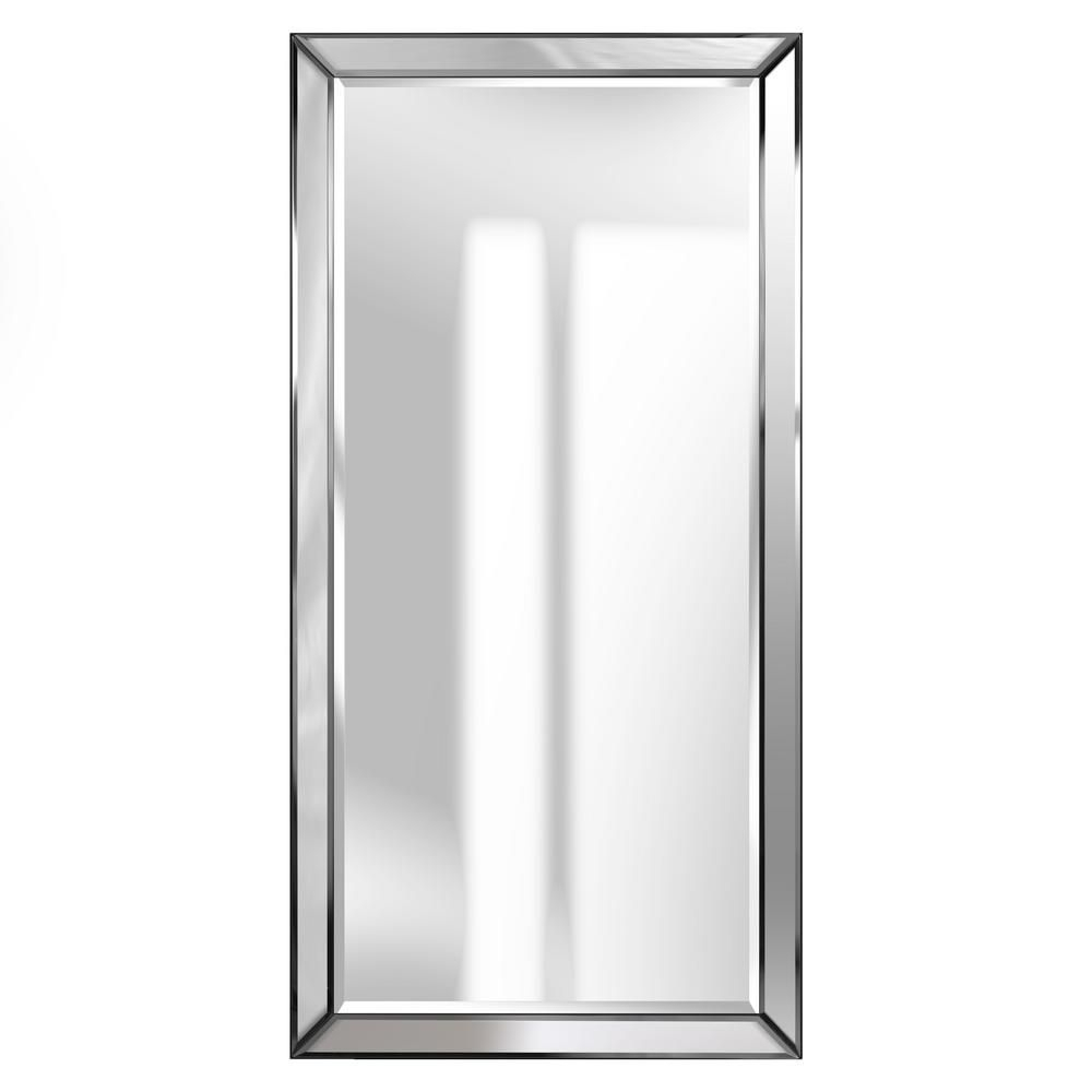 Pinnacle Beveled Accent Rectangular Silver Decorative Mirror In Glam Beveled Accent Mirrors (Image 18 of 20)