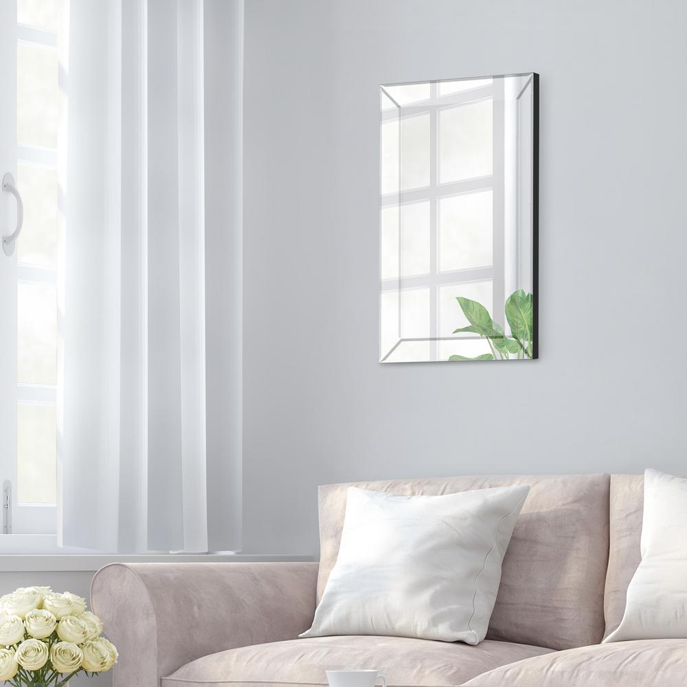 Pinnacle Beveled Accent Rectangular Silver Decorative Mirror With Glam Beveled Accent Mirrors (Image 19 of 20)