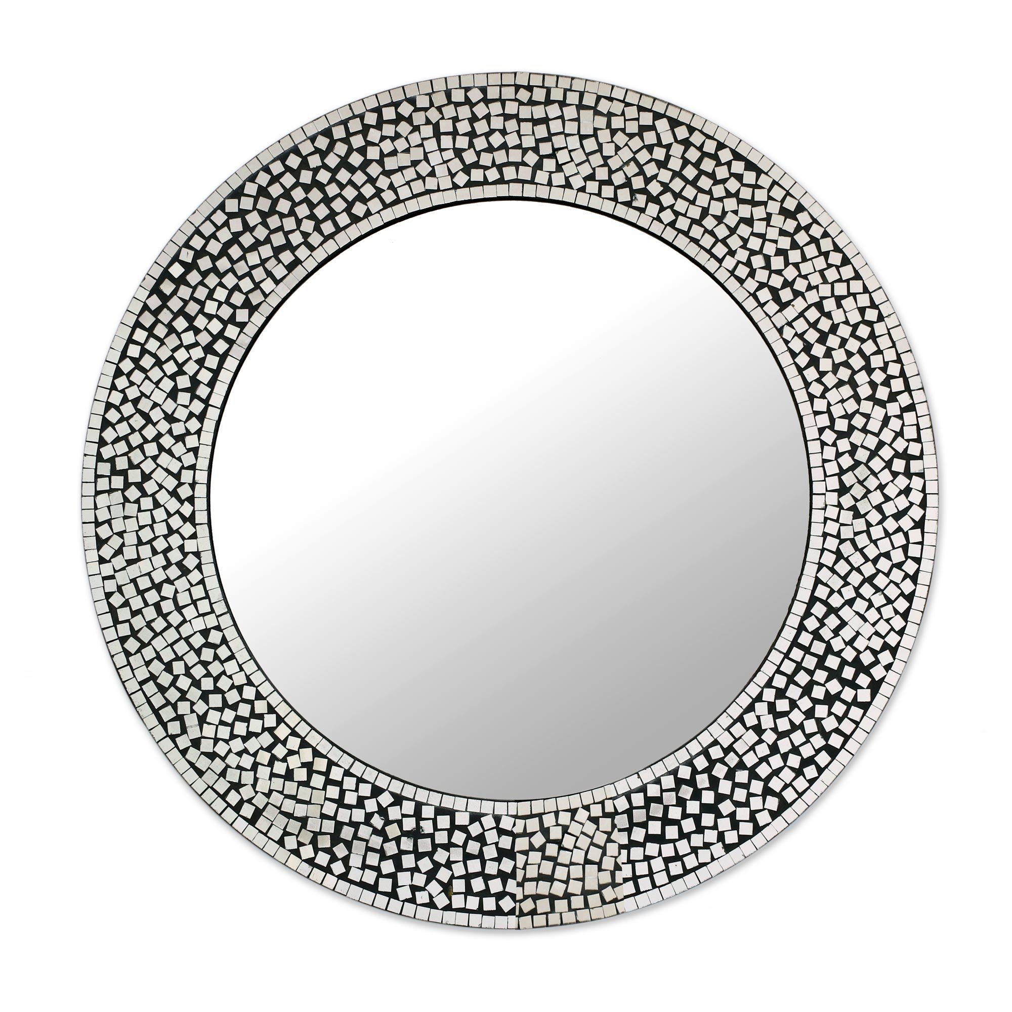 Pinner Mosaic Round Shimmer Eclectic Accent Mirror With Round Eclectic Accent Mirrors (Image 12 of 20)