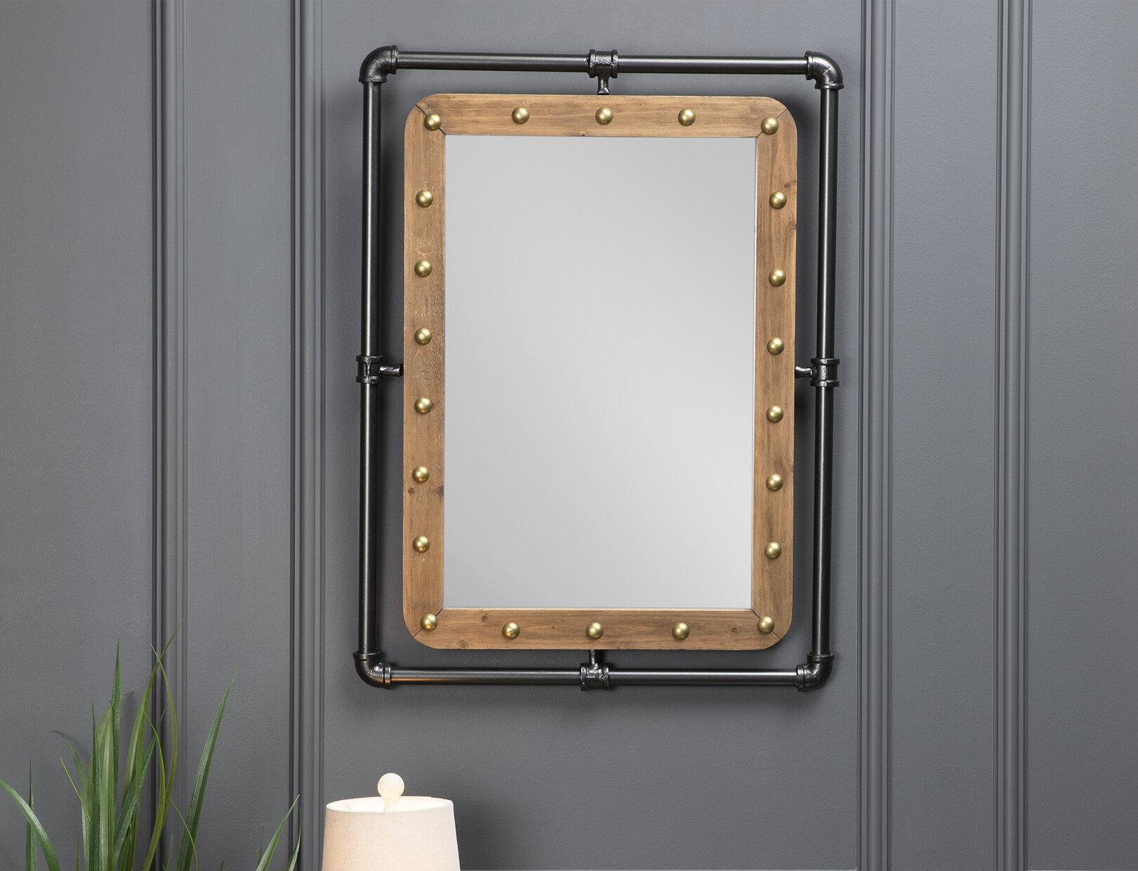 Pipe Mirror | Wayfair In Koeller Industrial Metal Wall Mirrors (Image 14 of 20)