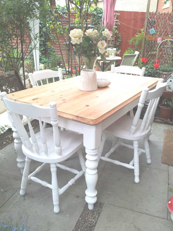 Plain Old Pine Table & 4 Chairs, Stripped Right Back And With Regard To Handmade Whitewashed Stripped Wood Tables (Image 16 of 25)