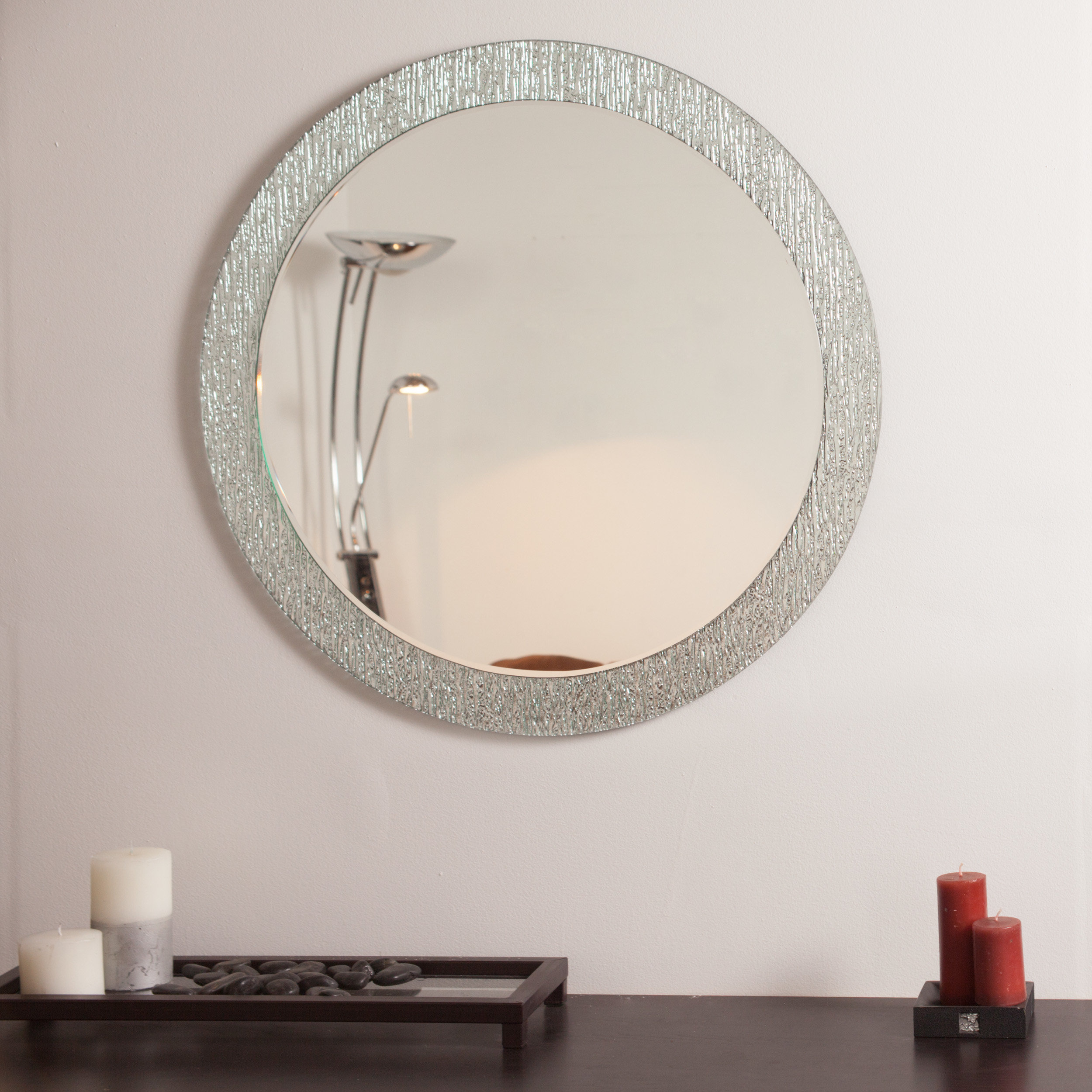 Point Reyes Molten Round Wall Mirror & Reviews | Joss & Main With Sajish Oval Crystal Wall Mirrors (View 17 of 20)