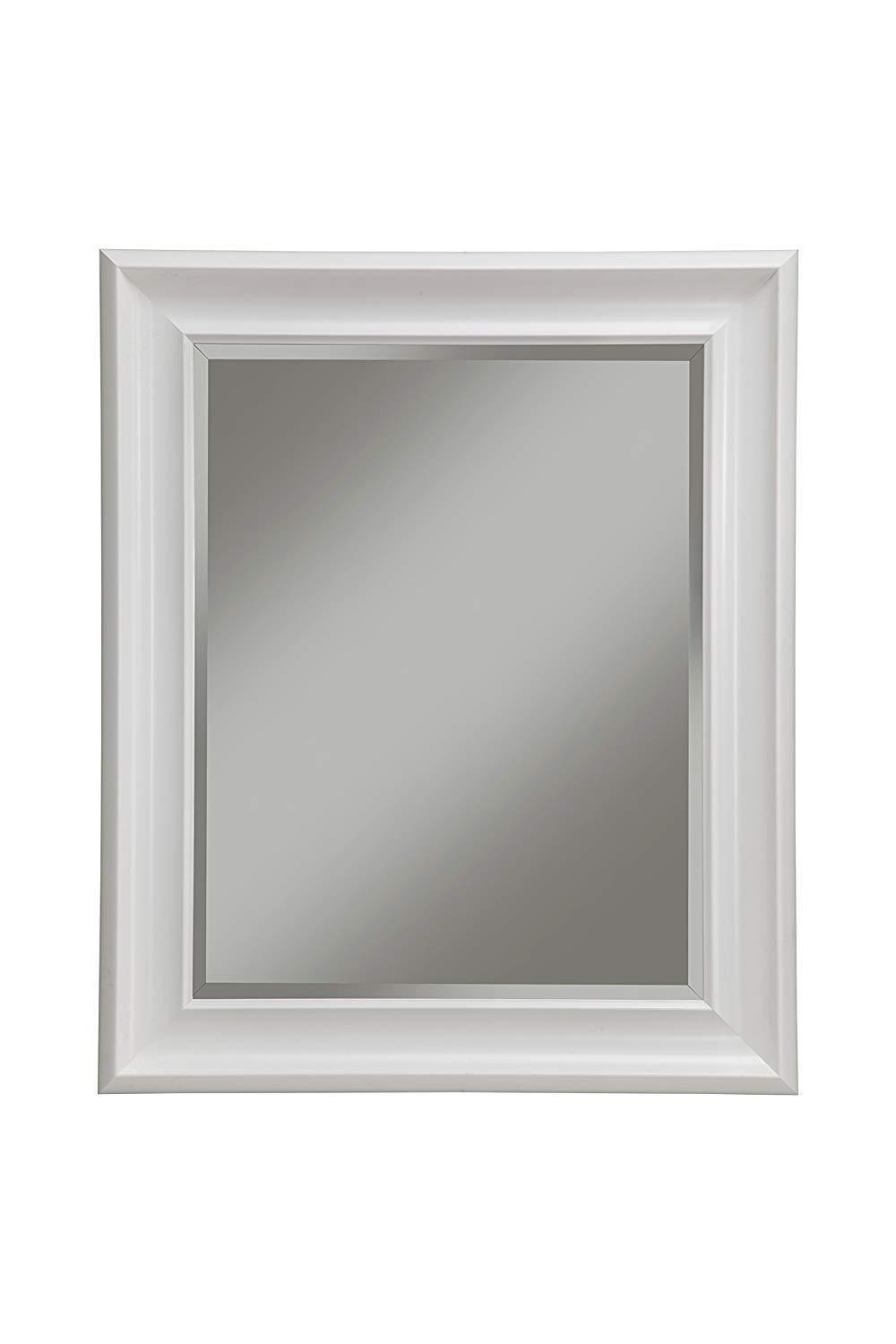 Polystyrene Framed Wall Mirror With Beveled Glass, White Within Farmhouse Woodgrain And Leaf Accent Wall Mirrors (View 19 of 20)