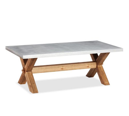 Pottery Barn Abbott Zinc Top Rectangular Coffee Table Intended For Aberdeen Industrial Zinc Top Weathered Oak Trestle Coffee Tables (Image 10 of 25)