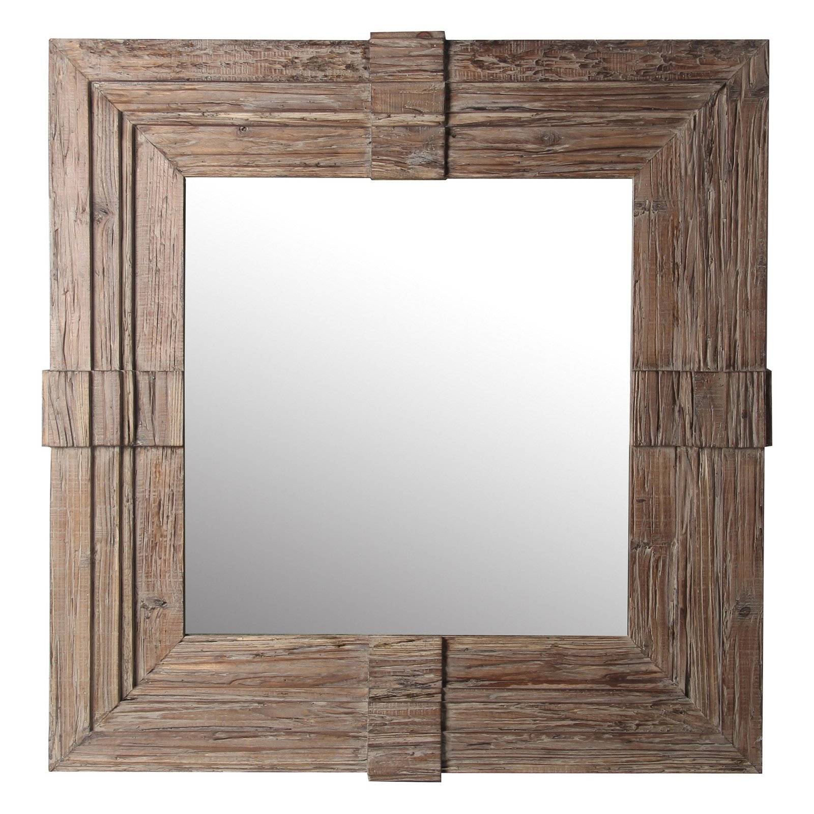 Privilege International Square Wood Traditional Wall Mirror Pertaining To Traditional Square Glass Wall Mirrors (Image 11 of 20)