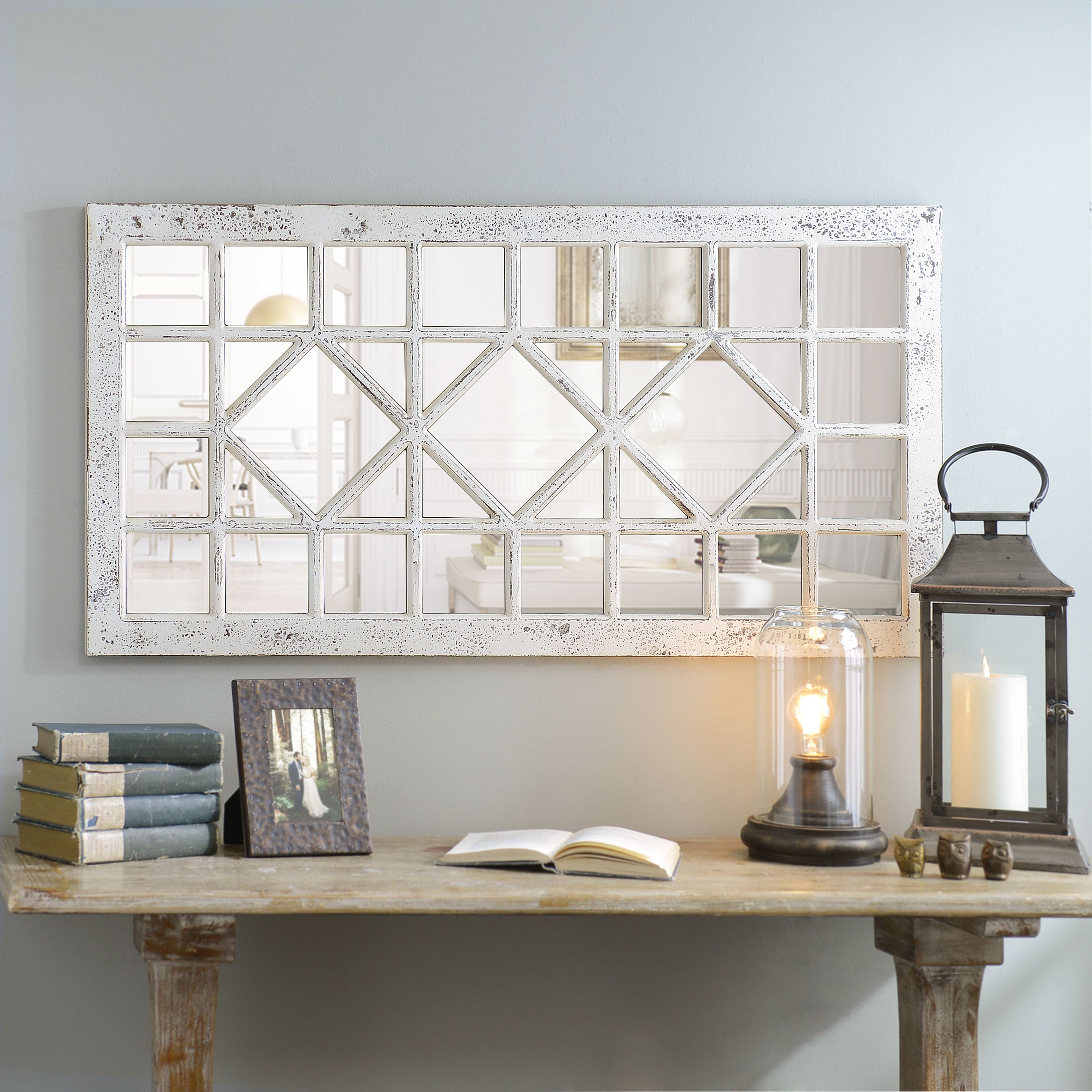 Product Details Distressed Cream Marquis Pane Mirror | Home In Polito Cottage/country Wall Mirrors (Image 15 of 20)