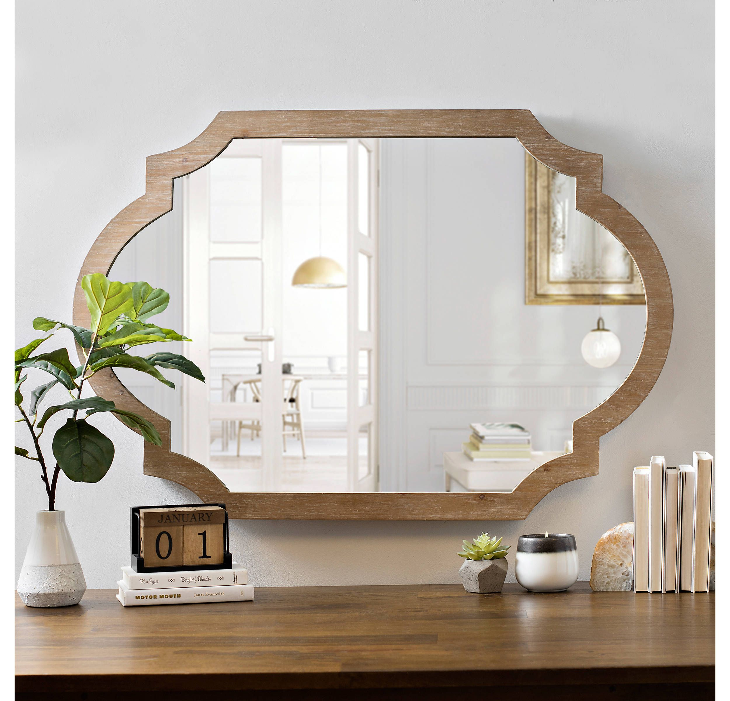 Product Details Natural Wood Scalloped Mirror | Mulligan In For Bristol Accent Mirrors (View 16 of 20)