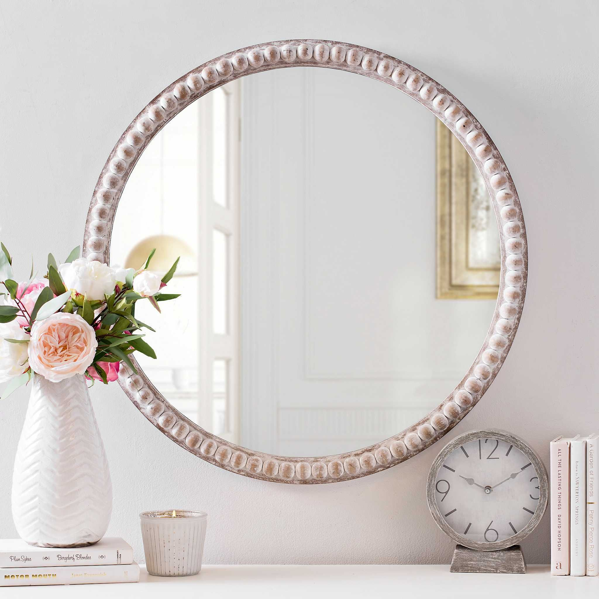 Product Details Round Natural Beaded Wall Mirror | Lake With Yedinak Modern Distressed Accent Mirrors (View 19 of 20)