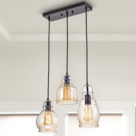 Featured Image of Pruett Cognac 3 Light Cluster Bell Pendants
