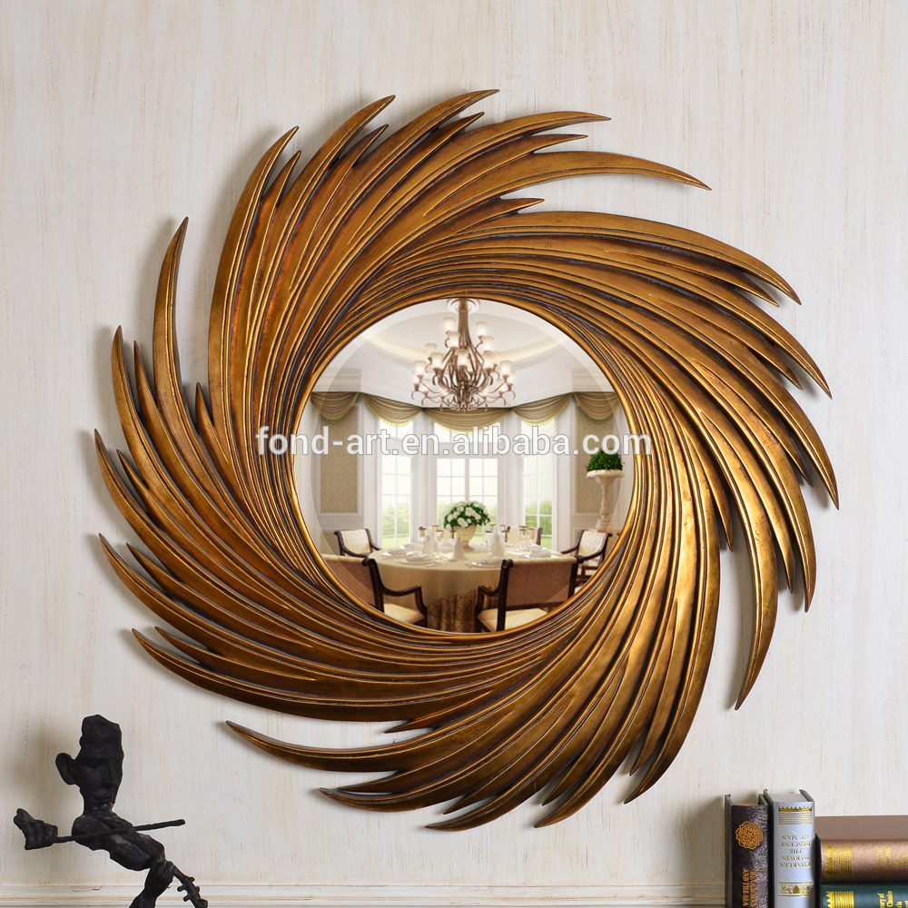 Pu159 Antique Gold Sun Shaped Decorative Wall Mirror – Buy Antique Framed Mirror,sun Shaped Wall Mirror,unique Wall Mirrors Product On Alibaba Pertaining To Sun Shaped Wall Mirrors (View 2 of 20)