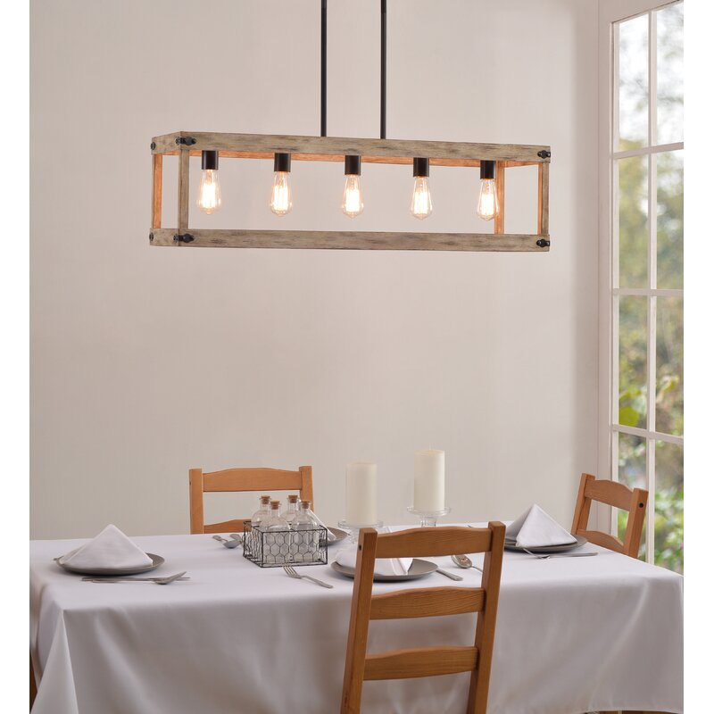 Pulver 5 Light Rectangle Chandelier Within Ellenton 4 Light Rectangle Chandeliers (View 7 of 20)