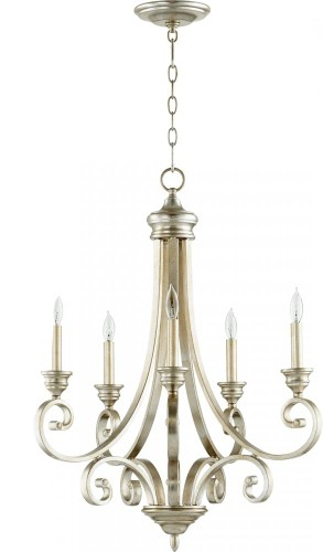 Quorum Lighting 6054 5 60 Bryant Chandelier, Aged Silver Intended For Berger 5 Light Candle Style Chandeliers (View 16 of 20)
