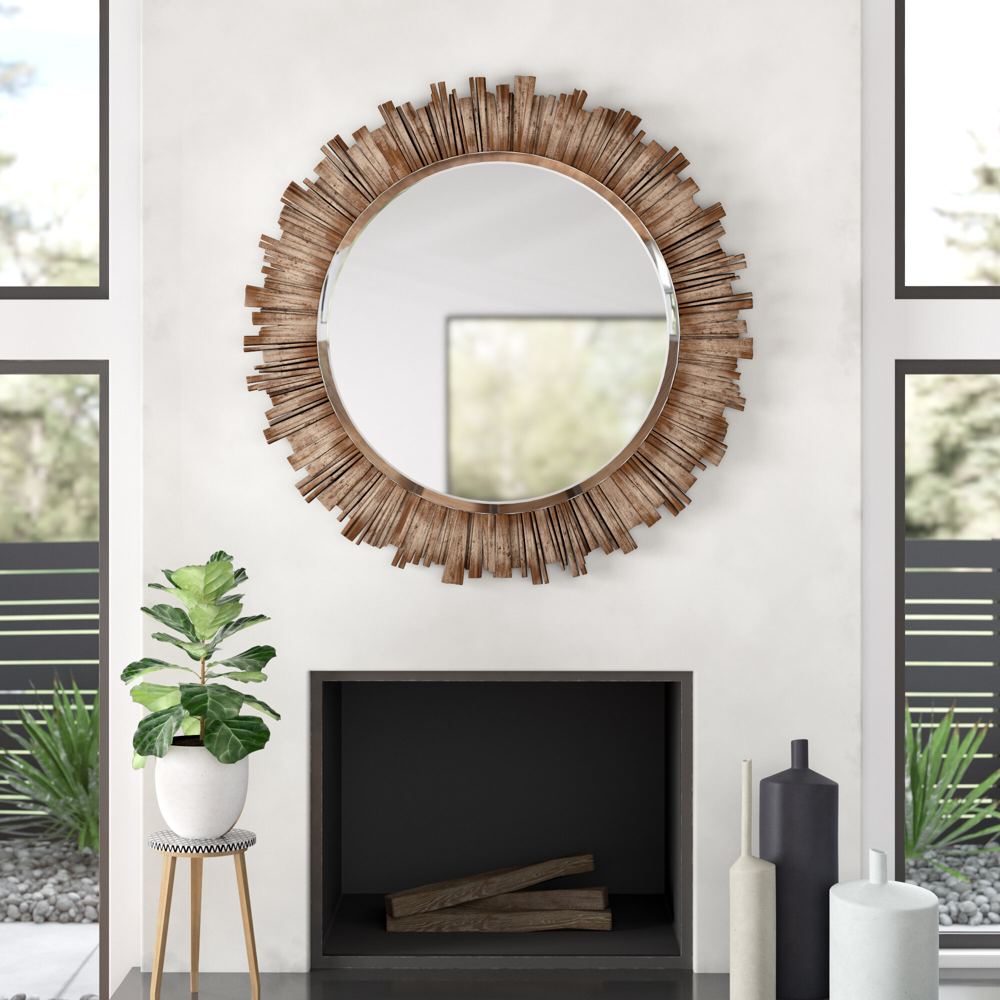 Raleigh Wall Mirror & Reviews | Allmodern With Point Reyes Molten Round Wall Mirrors (Image 12 of 20)