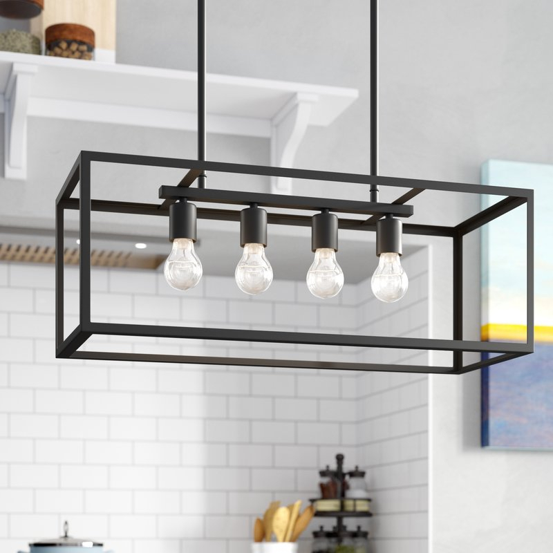 Ratner 4 Light Kitchen Island Linear Pendant Inside Jefferson 4 Light Kitchen Island Linear Pendants (View 6 of 25)