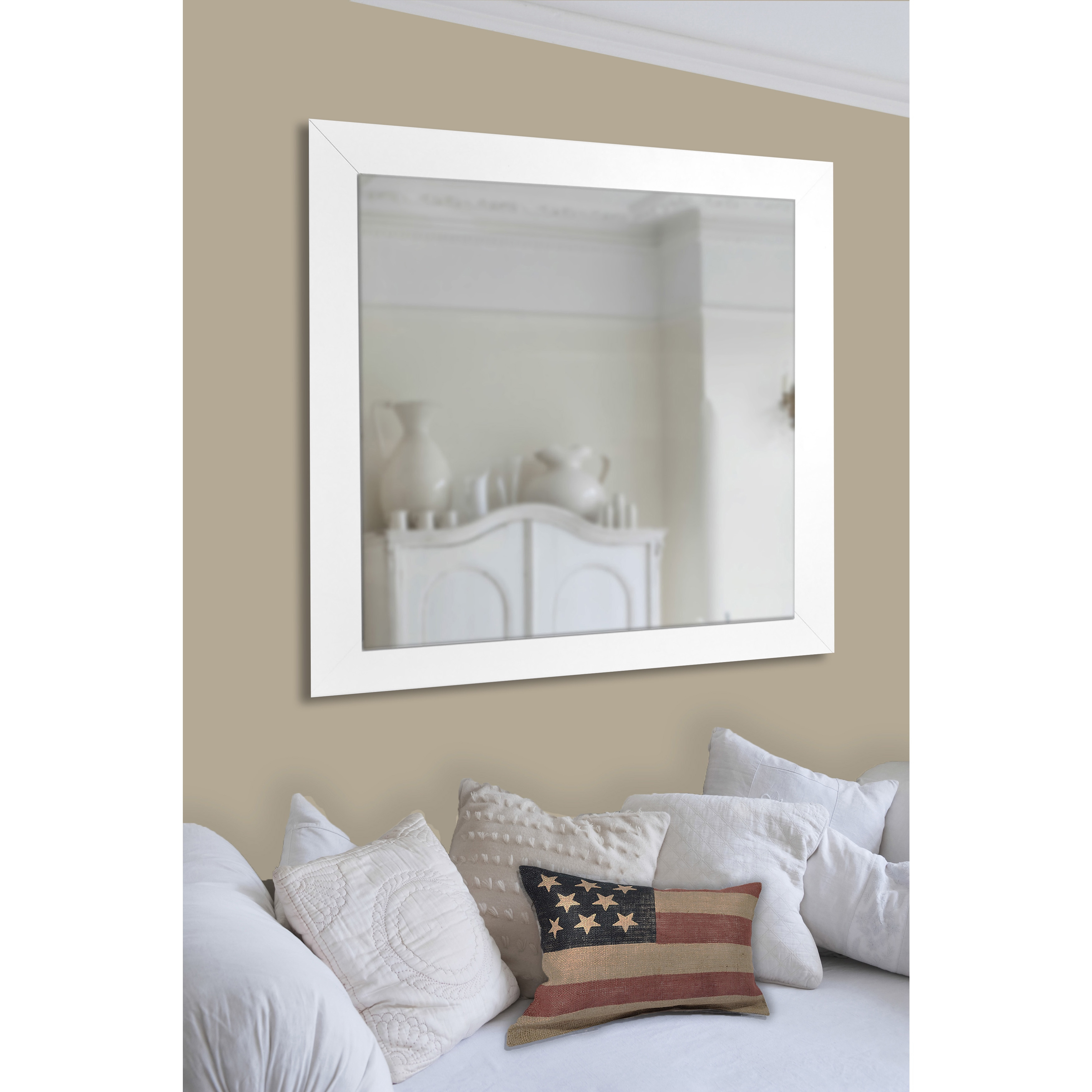Rayne Mirrors American Made Rayne White Satin Wide Wall/ Vanity Mirror Pertaining To American Made Accent Wall Mirrors (View 10 of 20)