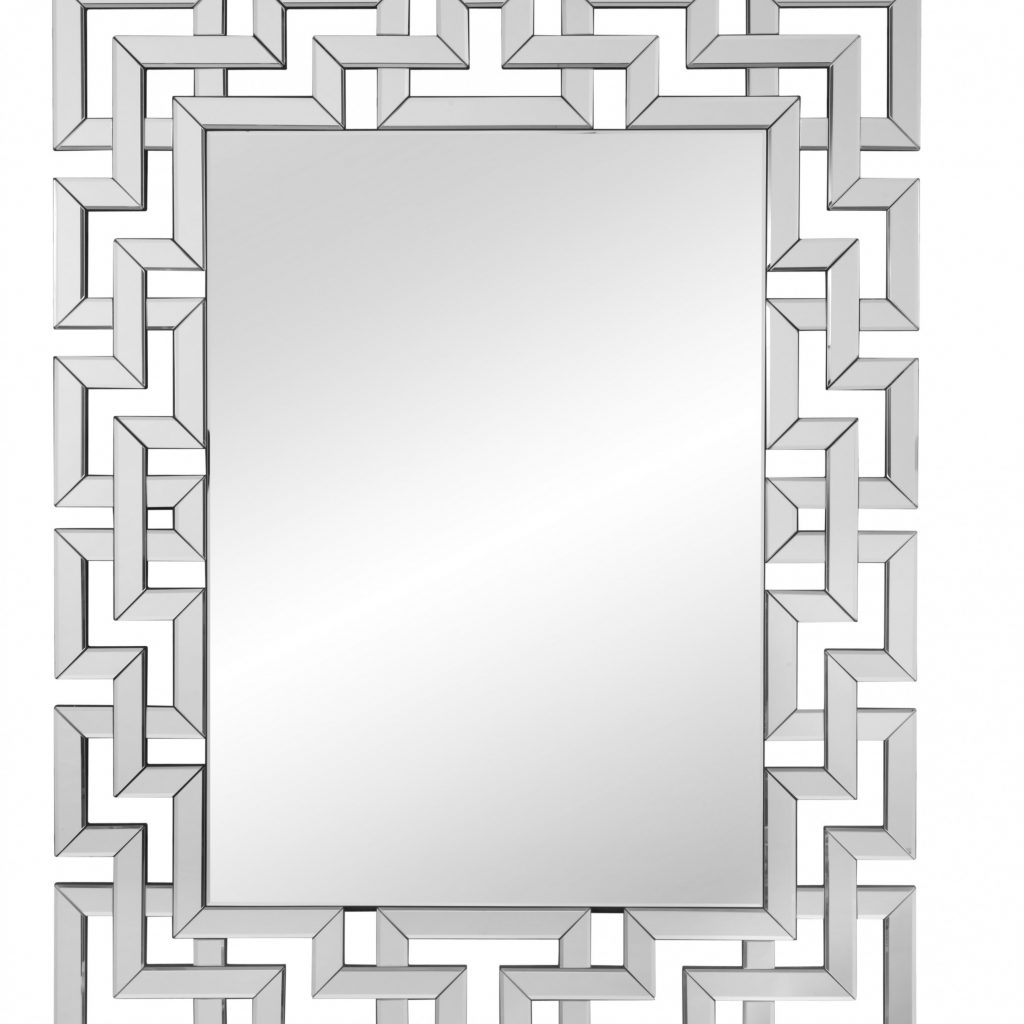 Rectangle Ornate Geometric Wall Mirror & Reviews | Joss Regarding Janie Rectangular Wall Mirrors (Image 12 of 20)
