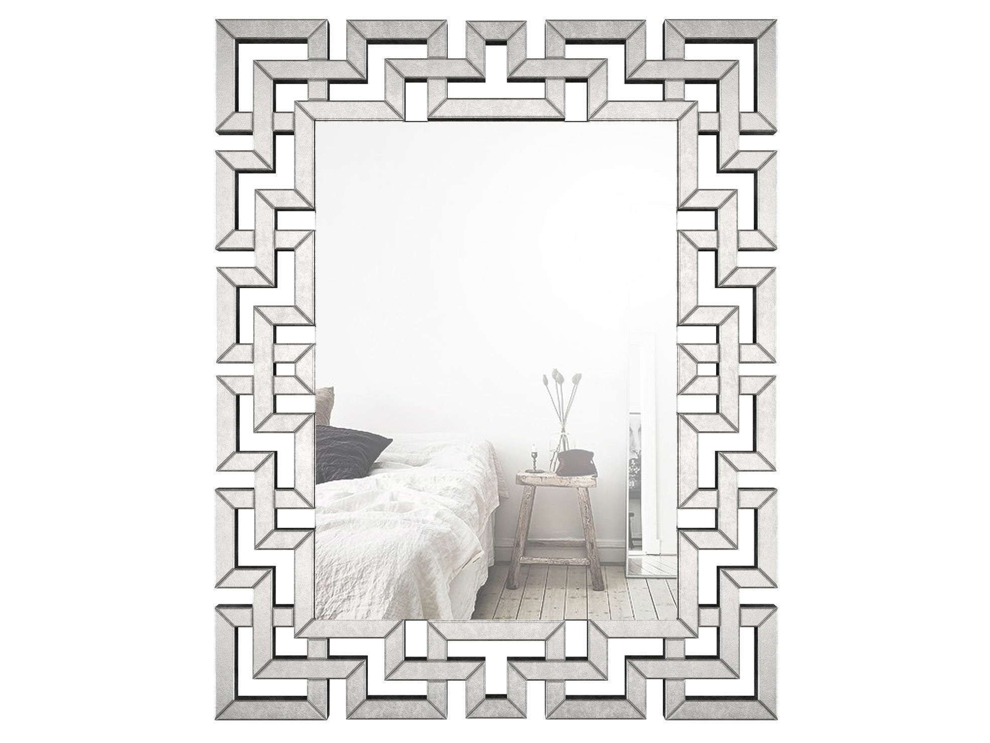 Rectangle Ornate Geometric Wall Mirror Wlao1370 | 3D Model Inside Rectangle Ornate Geometric Wall Mirrors (Photo 3 of 20)