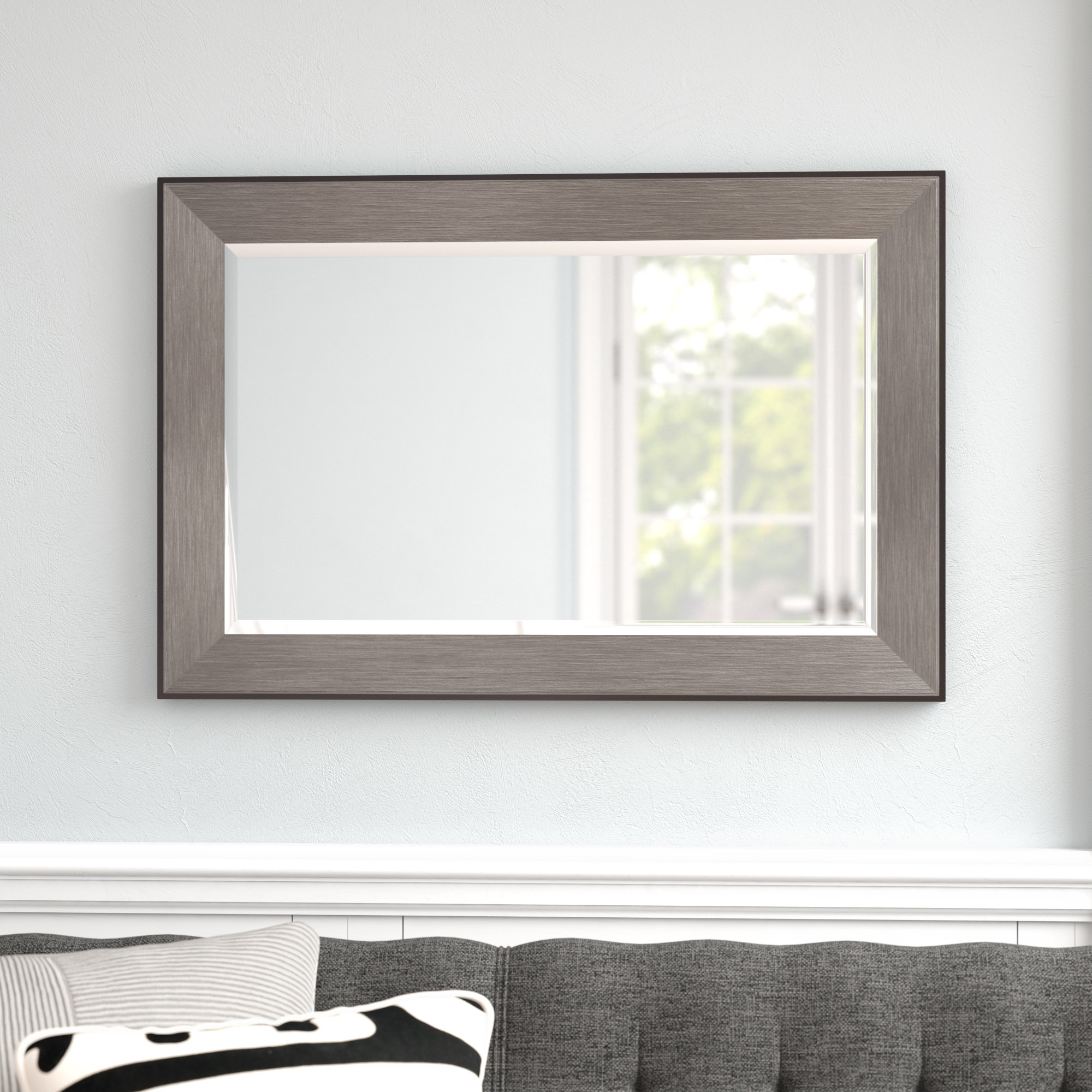 Featured Image of Rectangle Pewter Beveled Wall Mirrors