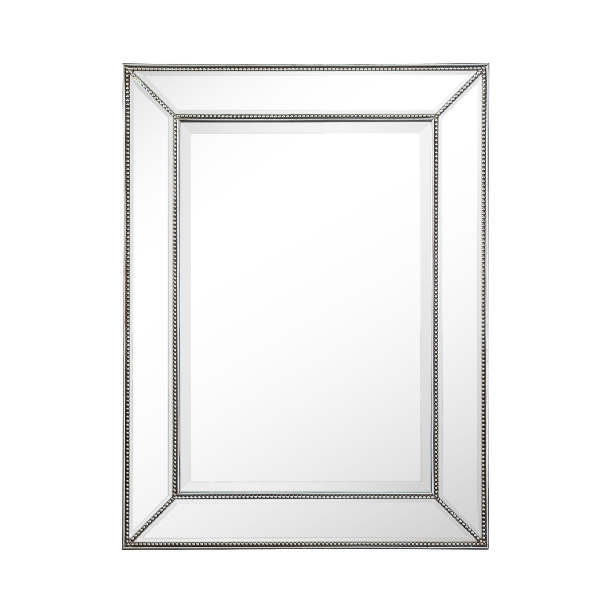 Rectangle Silver Beaded Accent Wall Mirror Pertaining To Silver Frame Accent Mirrors (View 8 of 20)