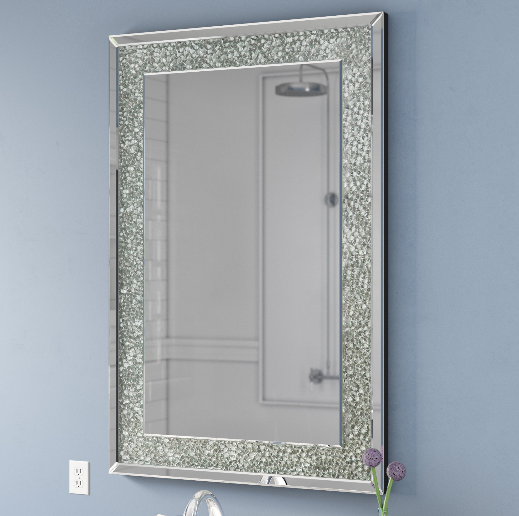 Rectangle Textured Wall Mirror | Wayfair Inside Pennsburg Rectangle Wall Mirrors (Image 11 of 20)
