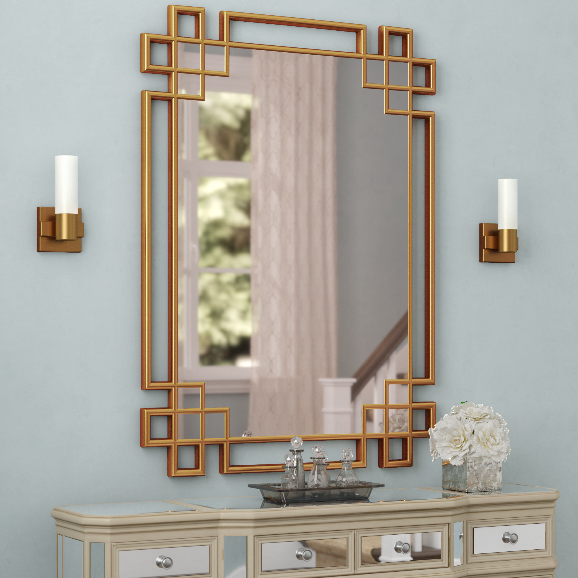 Rectangle Textured Wall Mirror | Wayfair Throughout Pennsburg Rectangle Wall Mirrors (Image 13 of 20)
