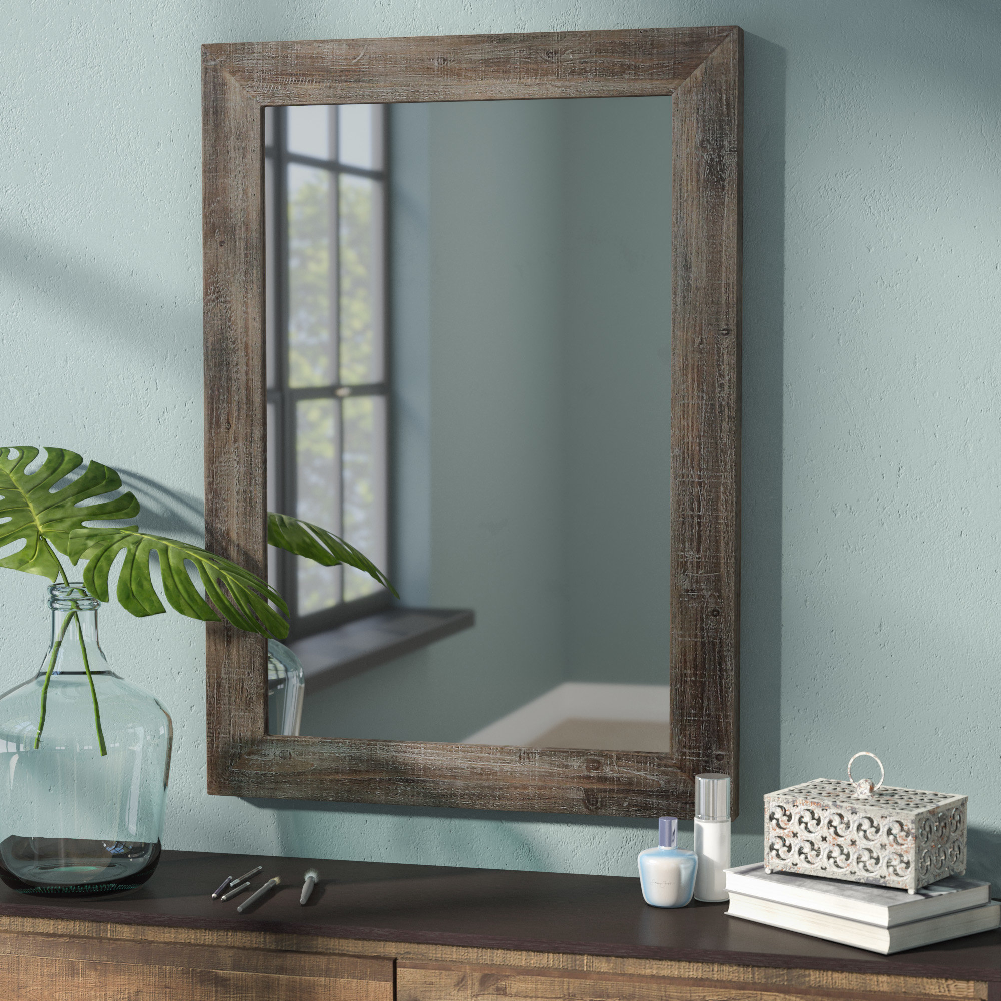 Rectangle Wood Accent Wall Mirror In Rectangle Accent Wall Mirrors (View 14 of 20)
