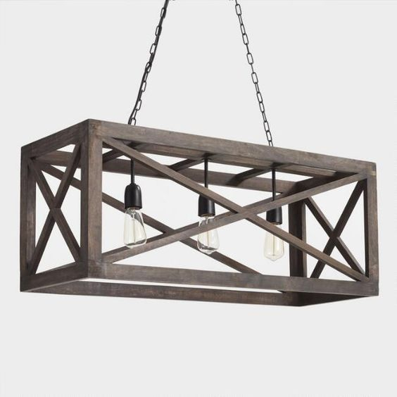 Rectangular Gray Wood 3 Light Valencia Chandelier – V2 Inside Ellenton 4 Light Rectangle Chandeliers (View 9 of 20)