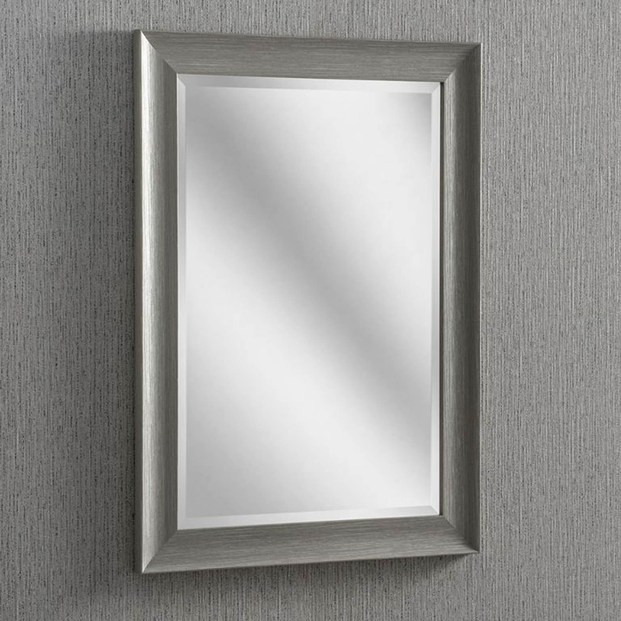 Rectangular Grey Modern & Contemporary Wall Mirror Inside Modern Rectangle Wall Mirrors (View 9 of 20)