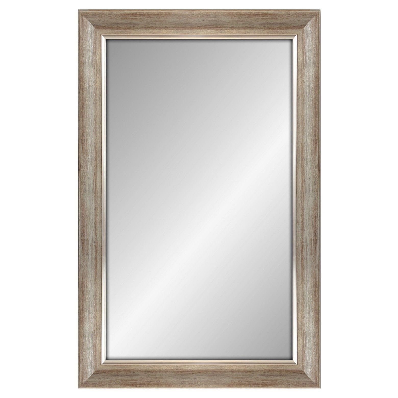 Rectangular Mirror Dark Silvertone Finish With Silver Filet With Regard To Modern Rectangle Wall Mirrors (View 13 of 20)