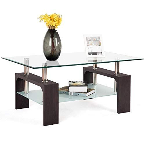 Rectangular Tempered Glass Coffee Table W/shelf, Made Of Pertaining To Porch & Den Urqhuart Wood Glass Coffee Tables (Image 37 of 50)