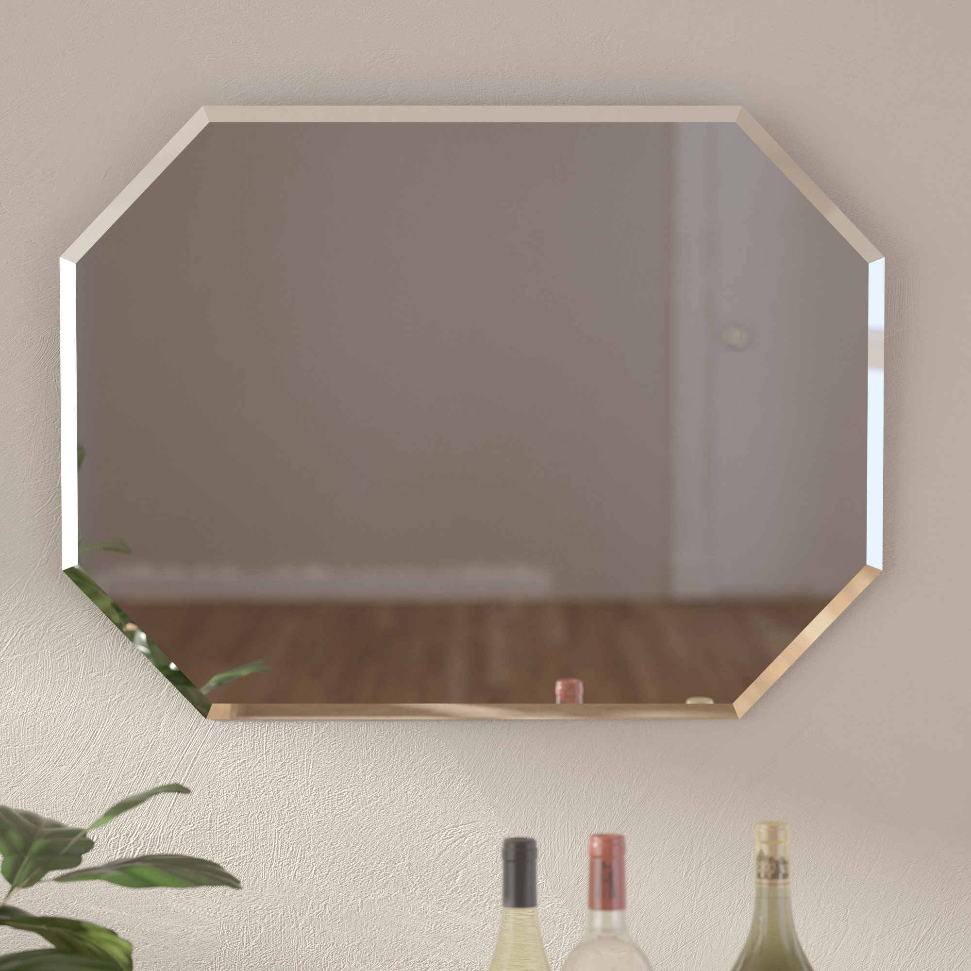 Red Barrel Studio Cannonball Creek Frameless Beveled Wall Pertaining To Tetbury Frameless Tri Bevel Wall Mirrors (View 11 of 20)