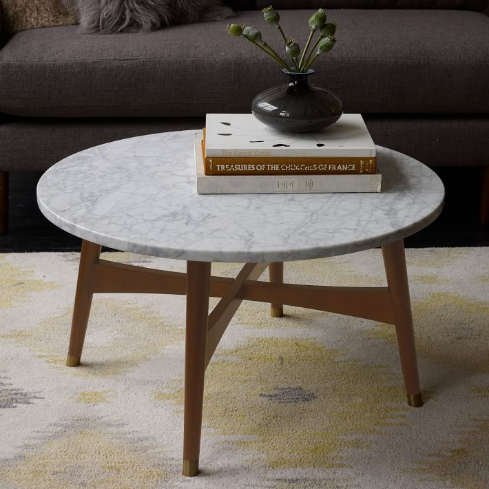 Reeve Mid Century Coffee Table – Marble In Solid Hardwood Rectangle Mid Century Modern Coffee Tables (View 17 of 50)