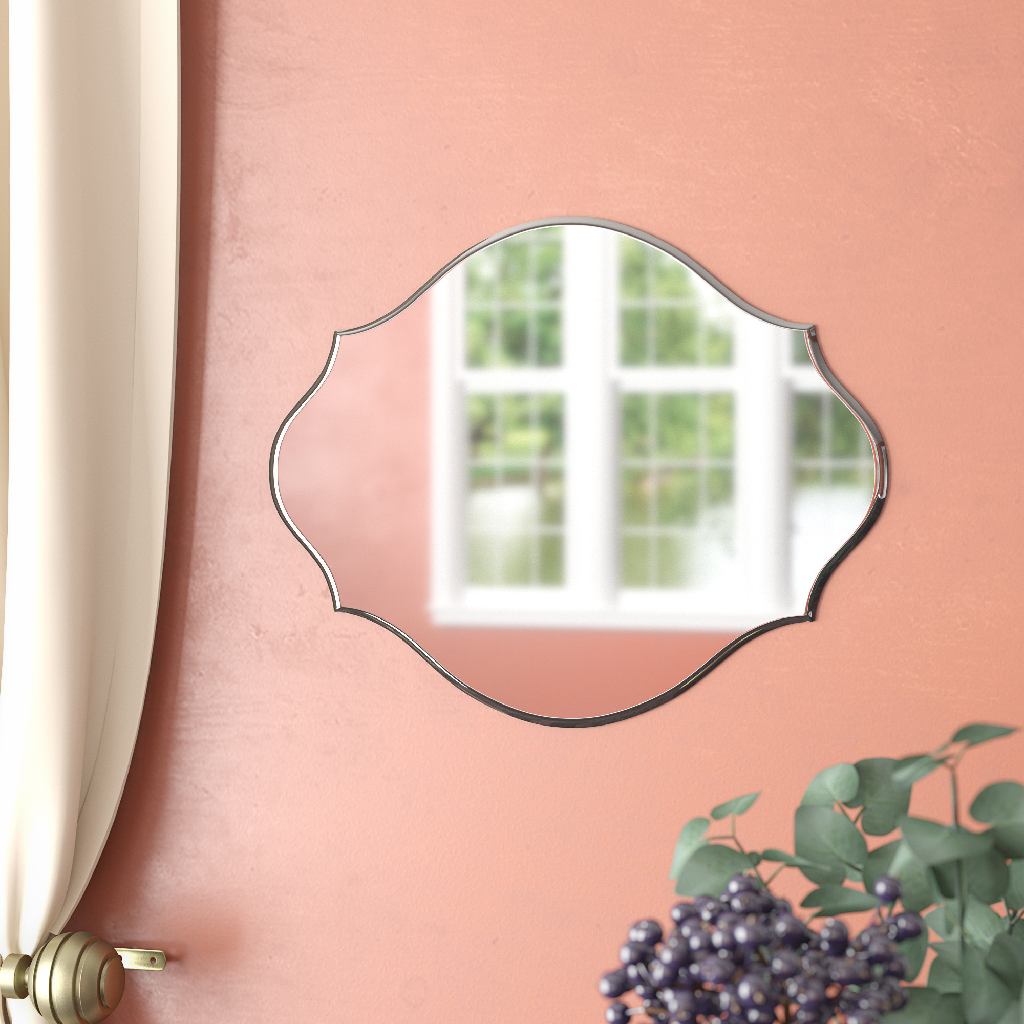Featured Image of Reign Frameless Oval Scalloped Beveled Wall Mirrors