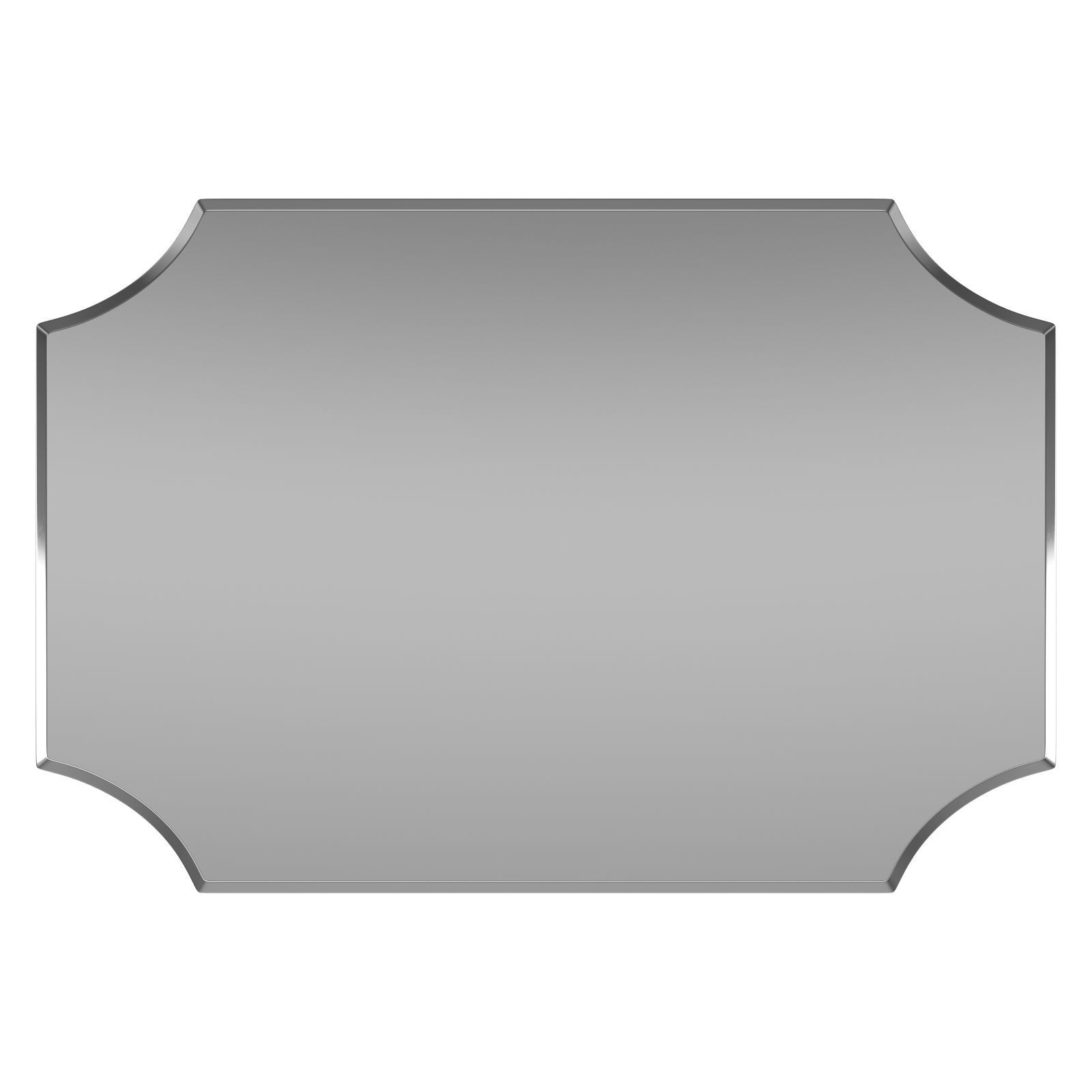 Reign Frameless Rectangle Scalloped Beveled Wall Mirror Dsov1042 | 3D Model In Reign Frameless Oval Scalloped Beveled Wall Mirrors (View 9 of 20)