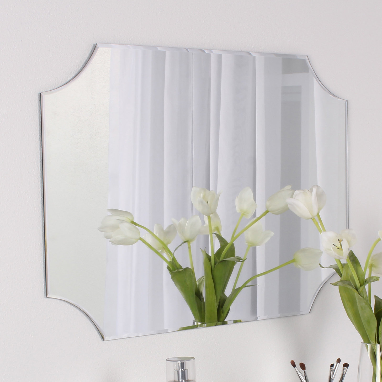 Reign Frameless Rectangle Scalloped Beveled Wall Mirror Within Reign Frameless Oval Scalloped Beveled Wall Mirrors (Image 17 of 20)