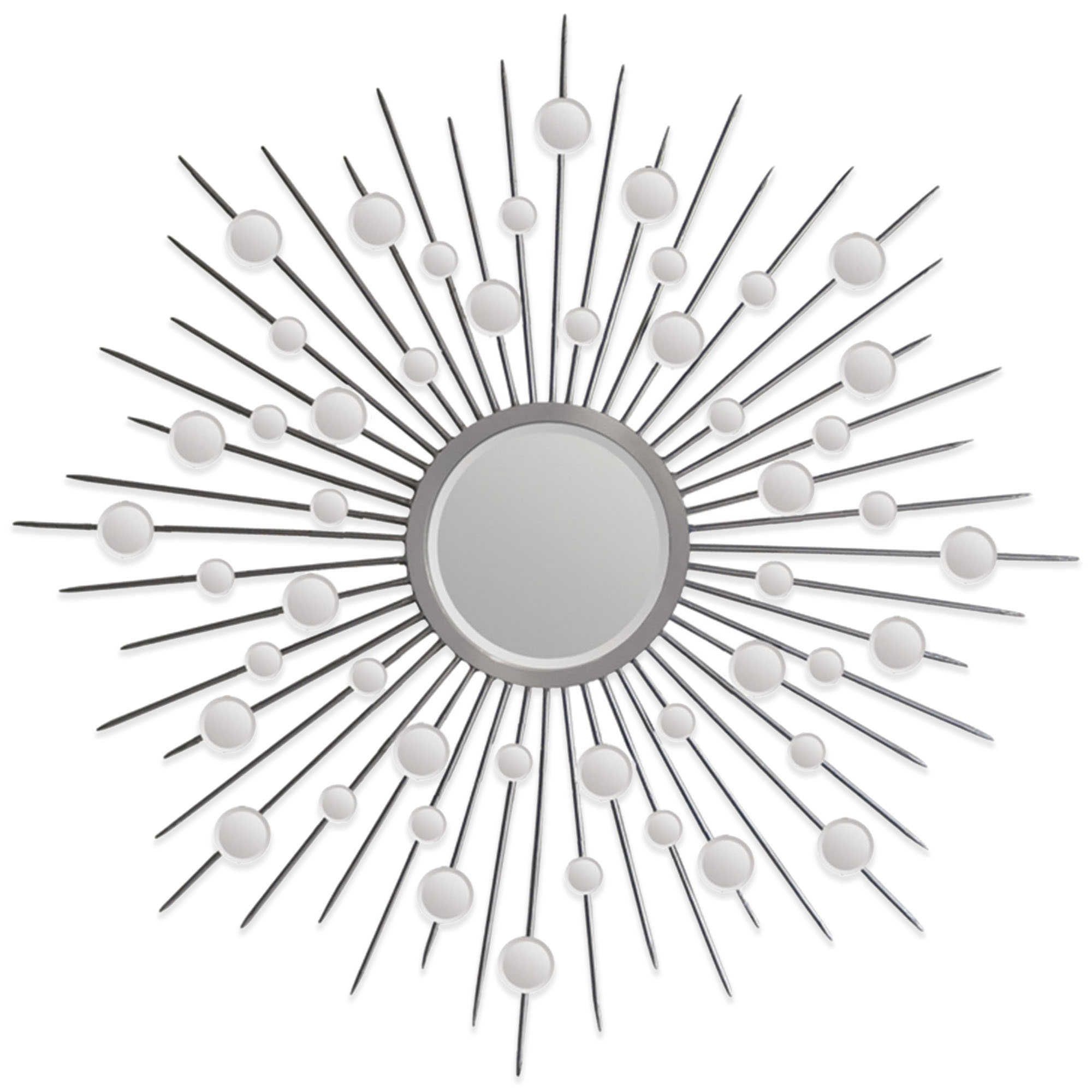 Ren Wil 45 Inch X 45 Inch Starburst Onice Mirror In Silver Pertaining To Estrela Modern Sunburst Metal Wall Mirrors (View 20 of 20)