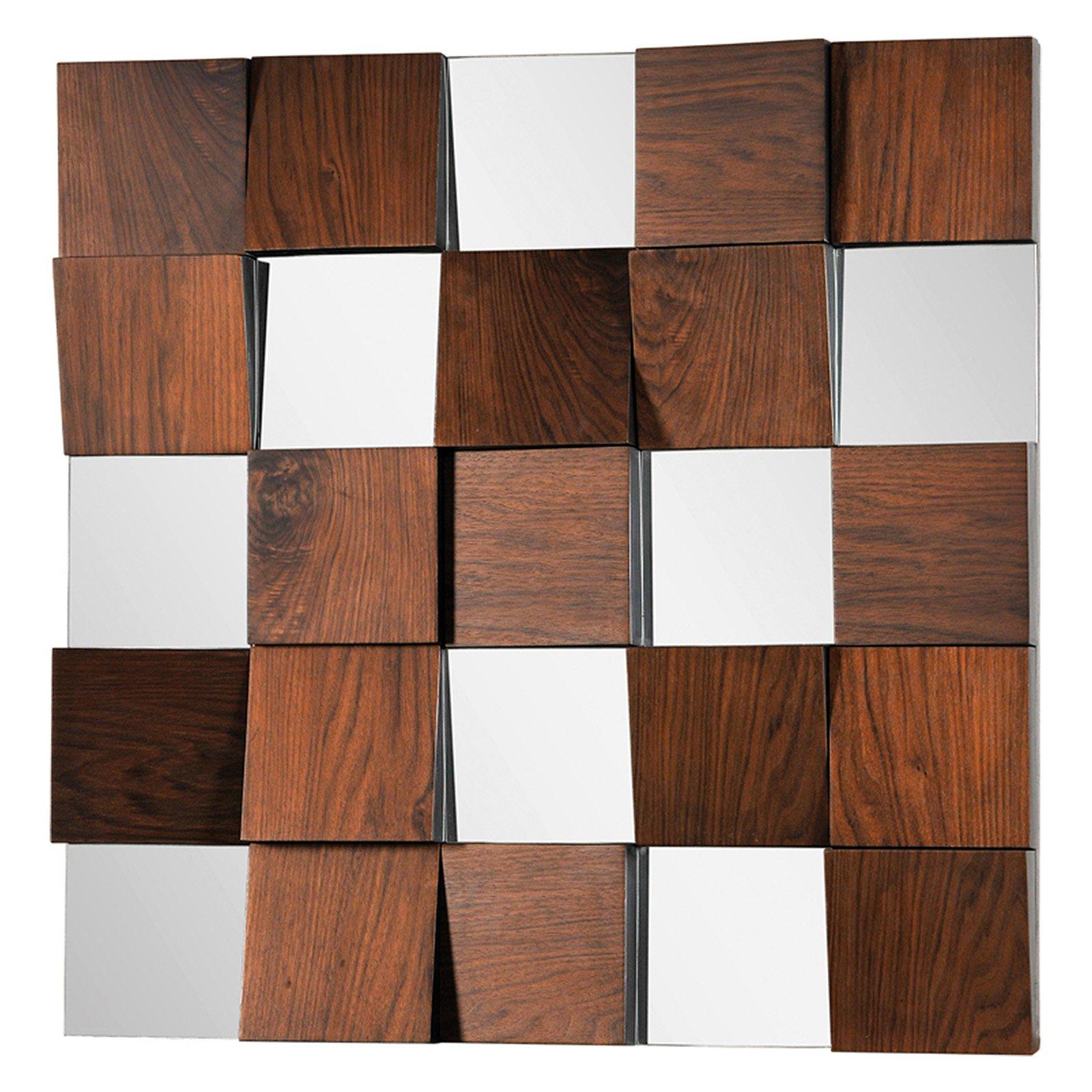 Ren Wil Wall Mirror With Walnut Veneer Panels – 36W X 36H In (View 16 of 20)