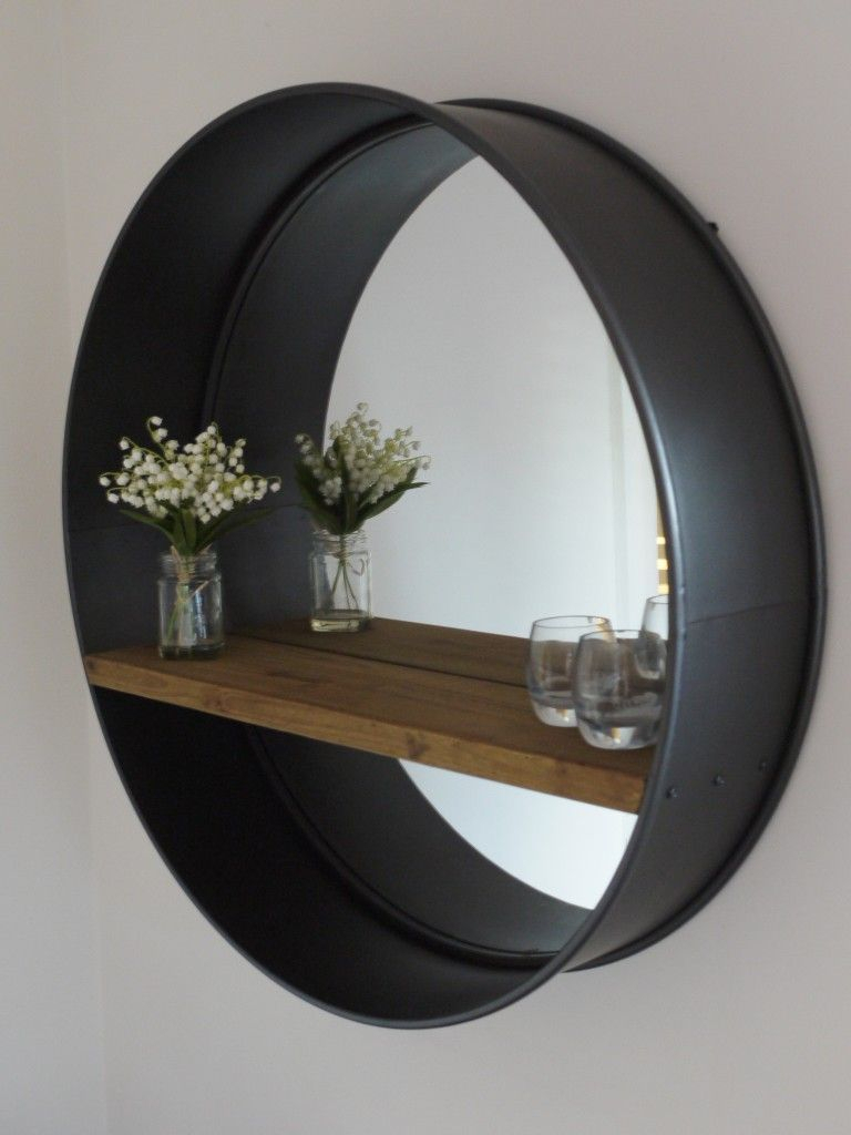 Retro Industrial Vintage Style Large Round Wall Mirror With Throughout Round Galvanized Metallic Wall Mirrors (View 18 of 20)