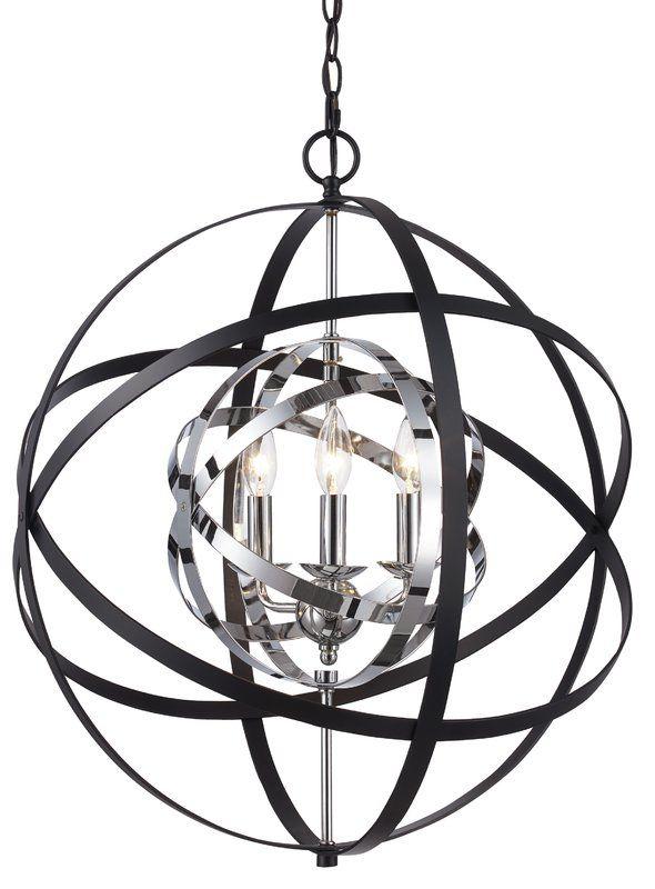 Rhinecliff 3 Light Globe Pendant | Living Room | Bel Air Regarding Alden 3 Light Single Globe Pendants (View 7 of 20)