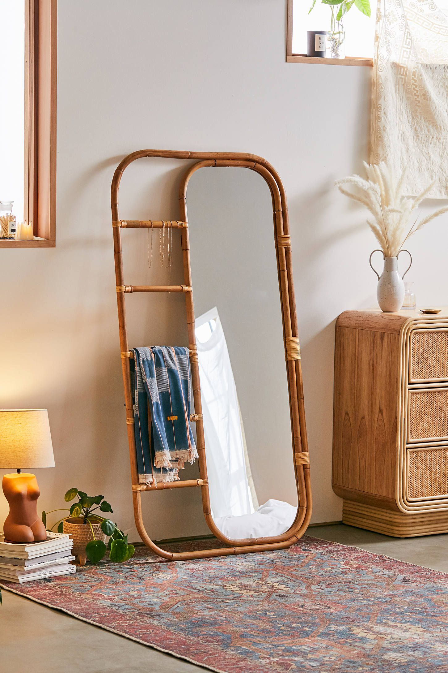 Ria Leaning Rattan Mirror In Northcutt Accent Mirrors (Image 13 of 20)
