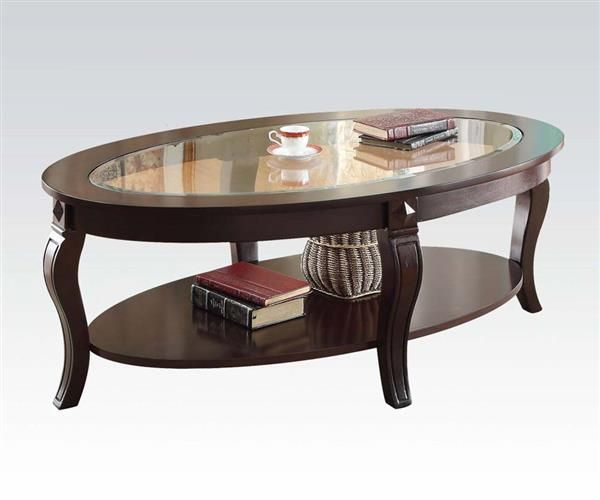 Riley Walnut Glass Wood Coffee Table W/glass Top | Coffee With Regard To Furniture Of America Crescent Dark Cherry Glass Top Oval Coffee Tables (Image 47 of 50)