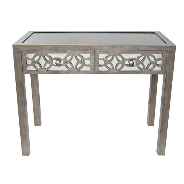 River Of Goods Silver Mirrored 2 Drawer Console Table 16404 With Silver Orchid Olivia Glam Mirrored Round Cocktail Tables (Image 21 of 50)