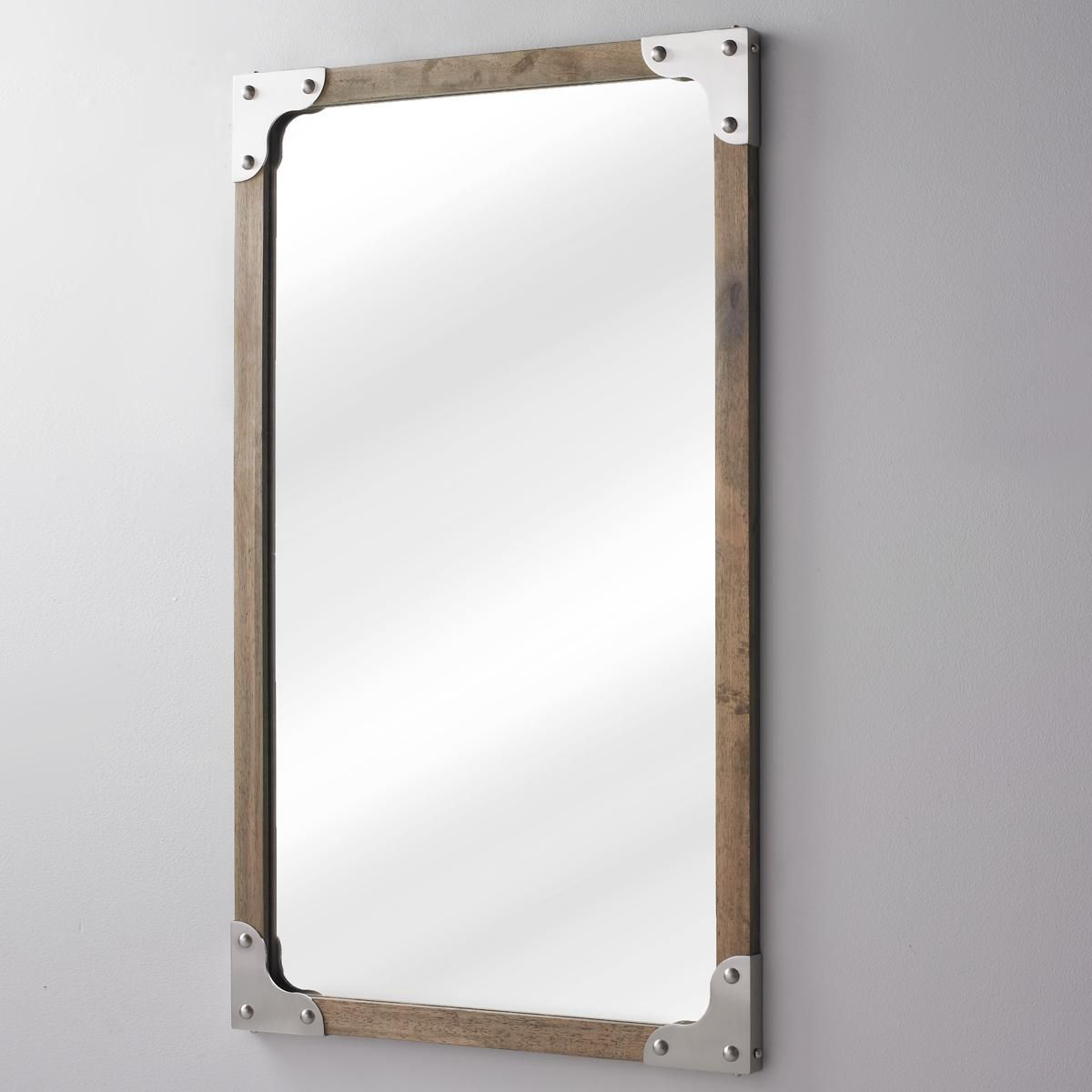 Rivet And Wood Industrial Style Mirror | Weathered Woods Intended For Koeller Industrial Metal Wall Mirrors (Image 17 of 20)
