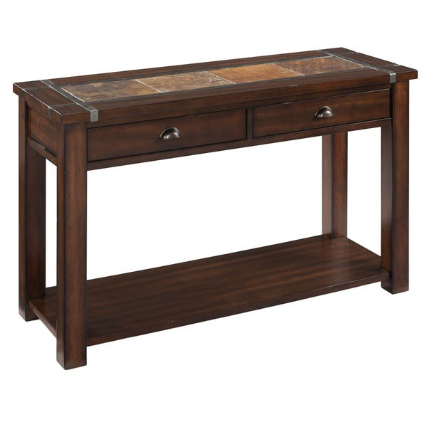 Roanoke Trasitional Rustic Cherry Storage Console Table With Slate Top – 50 X 18 X 30 Regarding Copper Grove Ixia Rustic Oak And Slate Tile Coffee Tables (View 12 of 25)