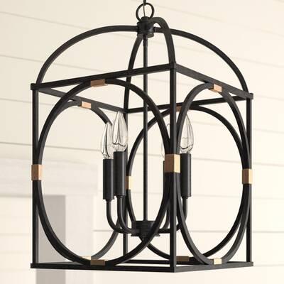 Robinette 3 Light Geometric Chandelier In Taya 4 Light Lantern Square Pendants (View 2 of 20)