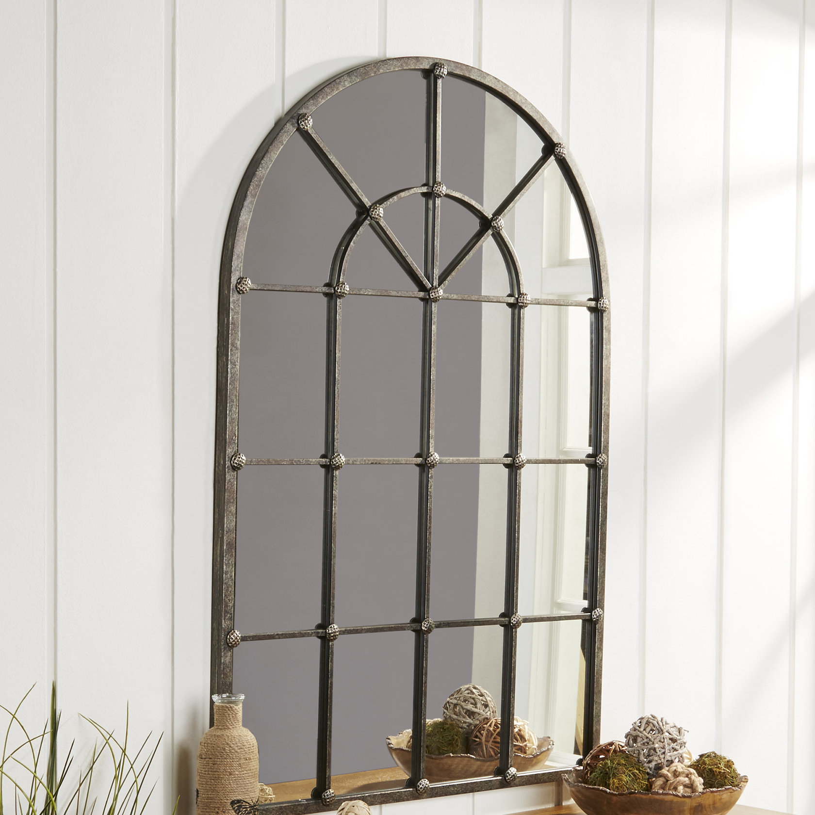 Romain Accent Mirror & Reviews | Joss & Main For 2 Piece Kissena Window Pane Accent Mirror Sets (View 17 of 20)