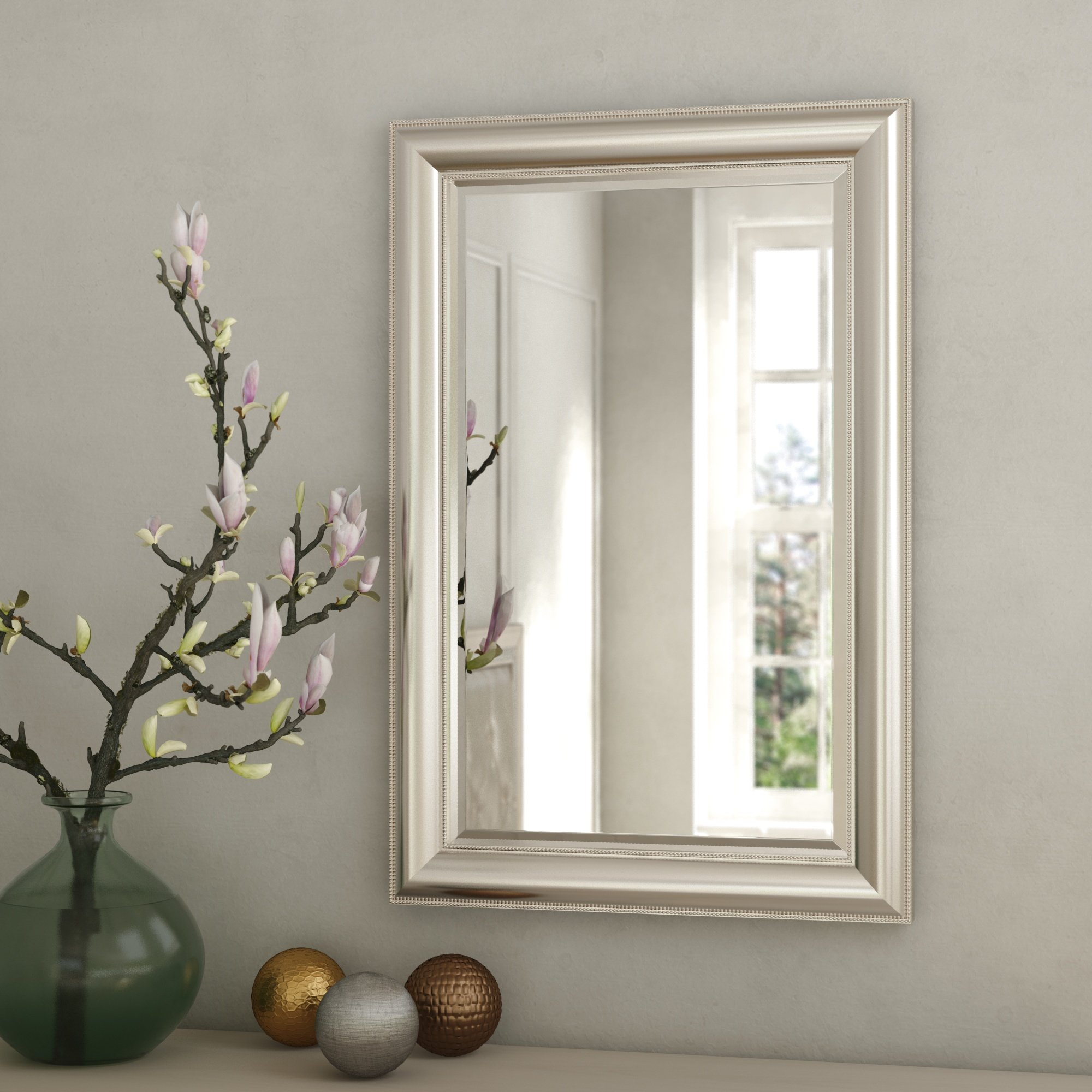 Rosdorf Park Beaded Accent Mirror & Reviews | Wayfair For Lake Park Beveled Beaded Accent Wall Mirrors (View 15 of 20)