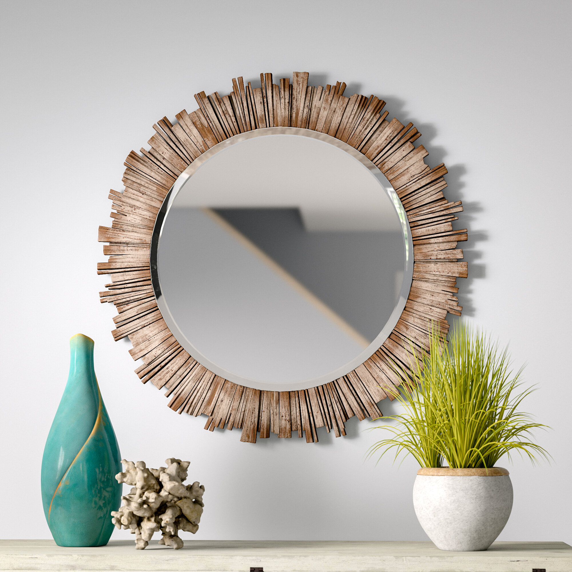 Rosecliff Heights Raleigh Wall Mirror & Reviews | Wayfair With Regard To Perillo Burst Wood Accent Mirrors (Image 16 of 20)