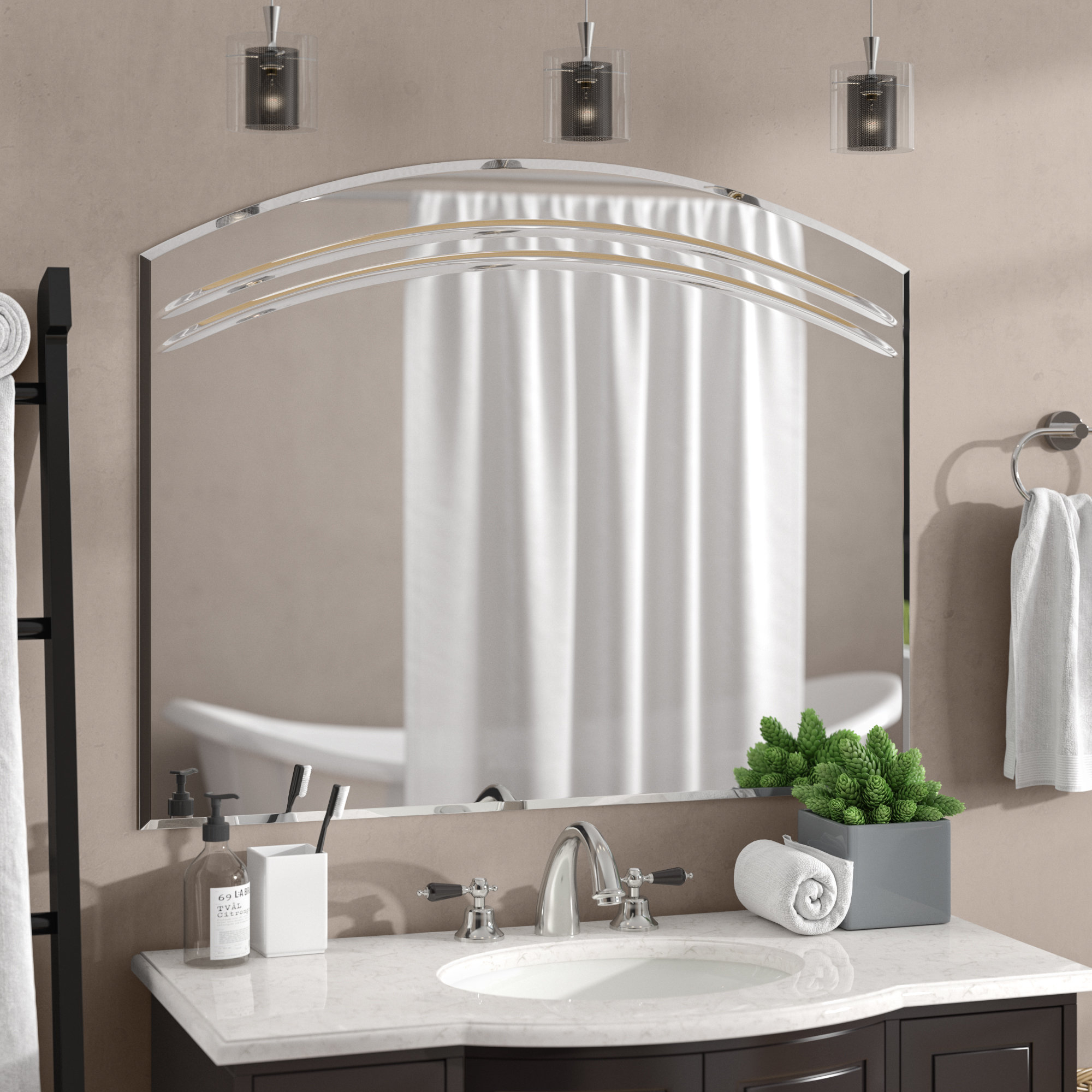 Rosecliff Heights Wallingford Large Frameless Wall Mirror For Logan Frameless Wall Mirrors (Image 14 of 20)